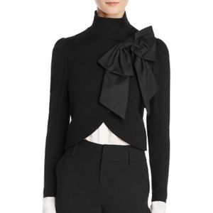 Alice and Olivia Addison Bow-Collar Cropped Jacket